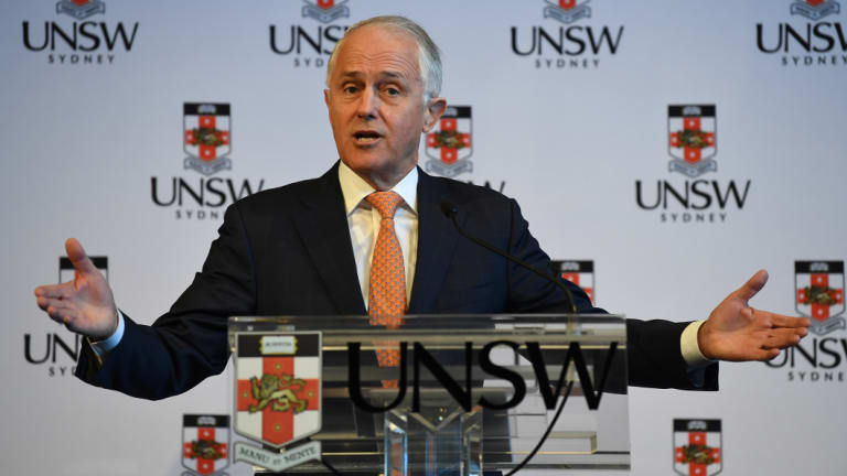 Malcolm Turnbull speaking at the University of New South Wales (UNSW) on Tuesday.