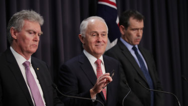 Former prime minister Malcolm Turnbull with ASIO Director-General Duncan Lewis and counter terrorism co-ordinator Tony Sheehan at Parliament House in 2017.