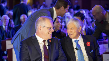 Prime Minister Scott Morrison and chairman of the Australian War Memorial Council Kerry Stokes at the launch of the memorial's half billion dollar redevelopment.