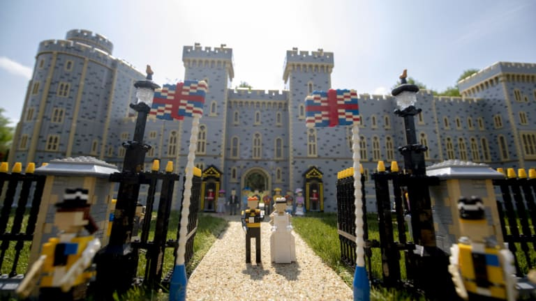 A Lego depiction of the forthcoming wedding of Prince Harry and Meghan Markle, complete with a 39,960 brick version of Windsor Castle, in Legoland Windsor, England.