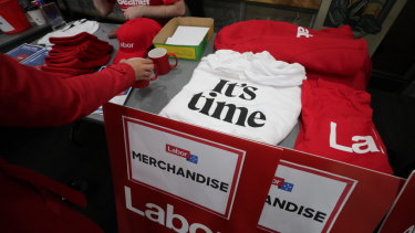 "Labor was selling ""It's time"" T-shirts at Bill Shorten's speech."