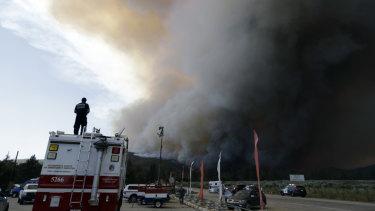A massive bushfire burns near Redding, California.