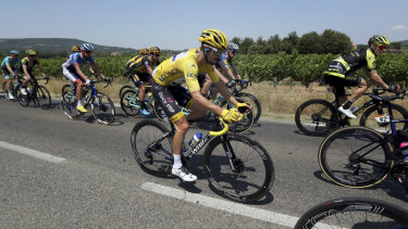 France's Julian Alaphilippe wearing the overall leader's yellow jersey.