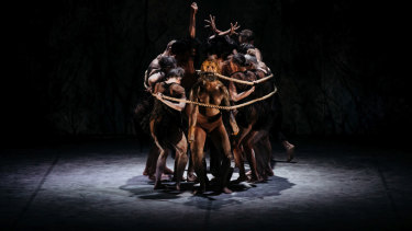 <i>Dark Emu</i>:  Beau Dean Riley-Smith and Bangarra Dance Theatre Ensemble.