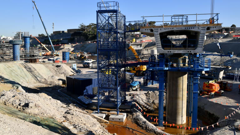 Construction work at the new interchange on Tuesday.
