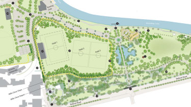 The updated Footscray Park masterplan. The three proposed soccer pitches occupy the large majority of the flat area in the west of the park.