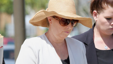 Julene Thorburn arriving at Beenleigh Magistrates Court, where she pleaded guilty to perjury,