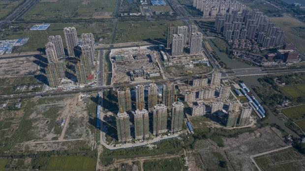 Evergrande's Riverside Palace development under construction in Jiangsu province, China.