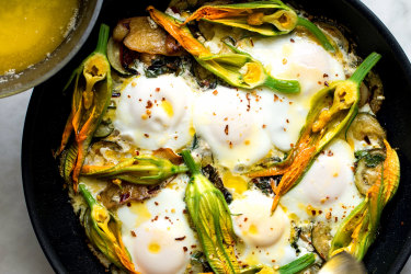 Yotam Ottolenghi's braised eggs with zucchini, feta and lemon.