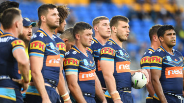Titans players look on following a Bulldogs try during the round 10 loss at CBUS Super Stadium on the Gold Coast on Saturday, May 18.