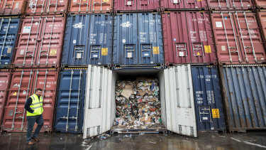 """Containers filled with waste languish after SKM""""s collapse"""