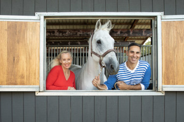 """Alison Kubler and Michael Zavros with horse Bono: """"Life is certainly not boring."""""""