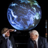 Britain's Prime Minister Boris Johnson, left, and David Attenborough at the announcement of the COP26 UN Climate Summit which has been cancelled.