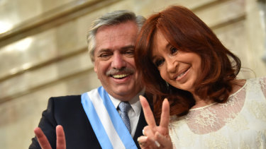 Argentina's new President Alberto Fernandez and Vice-President Cristina Fernandez de Kirchner (not relation) gesture during the presidential inauguration at National Congress on December 10.