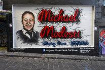 The mural of Michael Modesti in Hosier Lane, Melbourne.
