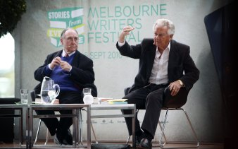 Graham Freudenberg talks politics, history and Winston Churchill with Bob Hawke at the Melbourne Writers Festival in 2010.