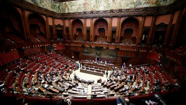 A general view of the Italian parliament as Italy's Prime Minister Mario Draghi attends a lower Chamber session.