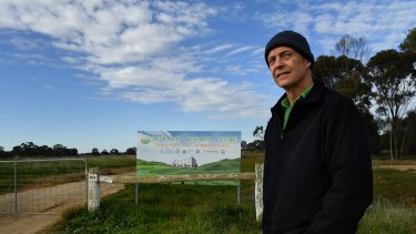 Deniliquin resident Ian Wall at the site of the failed agricultural research centre.