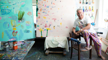 Ken Done at home in his studio.