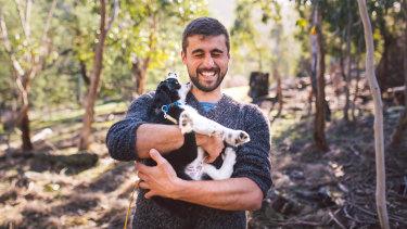 Researcher Dr Dejan Stojanovic will help train puppy Zorro in masked owl detection.