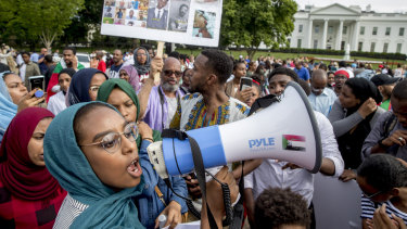Sudanese Americans rally outside the White House in Washington.