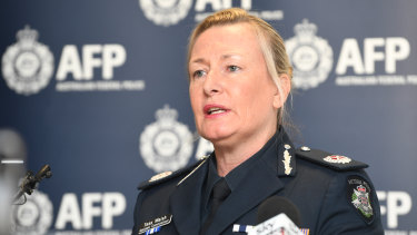 Victoria Police Assistant Commissioner Tess Walsh addresses the media in connection with the drug arrests.