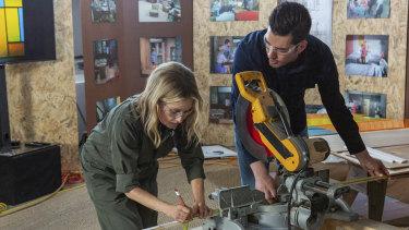 Maureen McCormick (left) working on the Brady house renovation.