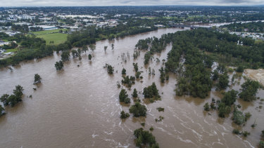 The Nepean River on Tuesday after days of heavy rain.