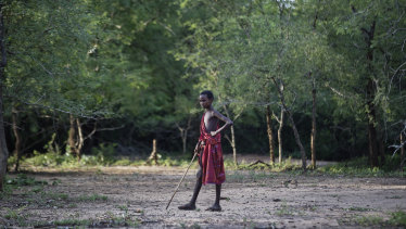 A young Maasai herder boy stands in the bush at the end of the day near Mikumi National Park in Tanzania.
