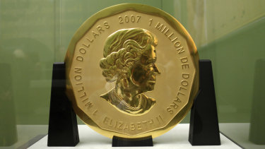 The 'Big Maple Leaf' gold coin  in the Bode Museum in Berlin.