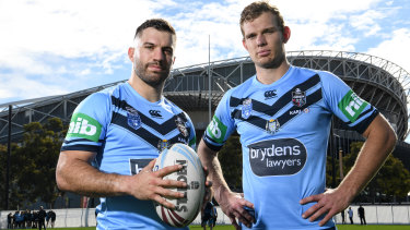 NSW Blues teammates James Tedesco and Tom Trbojevic.