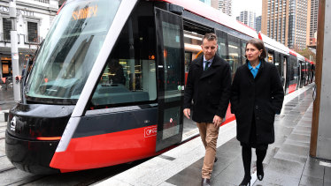Transport Minister Andrew Constance, pictured with Premier Gladys Berejiklian, has said his priorities are the first stage of Parramatta's light rail line and a new metro line.