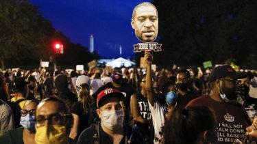 Demonstrators protesting near the White House in Washington.