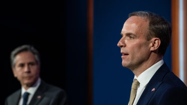 British Foreign Secretary, Dominic Raab, right and US Secretary of State, Antony Blinken, left, hold a joint press conference at Downing Street in London, England.