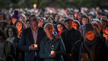 Premier Daniel Andrew and his wife Catherine attend the vigil for Eurydice Dixon.