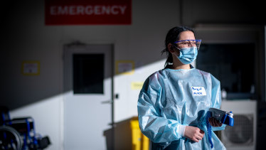 Austin Hospital nurse Brigid Algie and her colleagues are braced for an influx of people suffering from COVID-19.