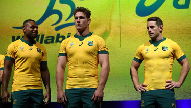 Wallabies Samu Kerevi, Michael Hooper and Bernard Foley at the launch of the official World Cup jersey in Sydney in May.