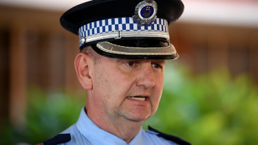 Charges: NSW Police Superintendent Brett McFadden addresses the media during a press conference at Penrith Police Station.