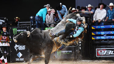Falling short: Wilkinson, the reigning PBR Australia champion, comes off in Cairns.