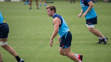 Will Harrison goes about his business at Waratahs training.