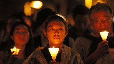 Thousands attended a candlelight vigil in Hong Kong last year for victims of the Tiananmen Square massacre.