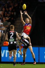 Joe Daniher flies high for the Lions.