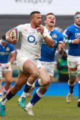 Anthony Watson of England breaks clear to score their fourth try during the Guinness Six Nations match between England and Italy.