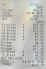 Receipt for lunch