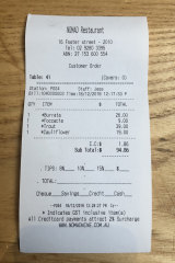 The bill at Nomad, Surry Hills.