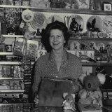 Yvonne Rentoul in her shop on the pylon in 1964.