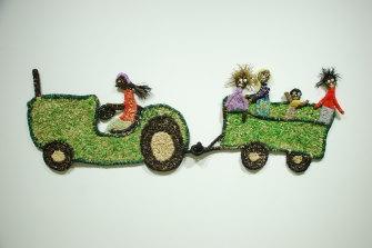 Judith Yinyika Chambers from Warakurna (WA) work 'The Big Green Tractor' (2014).