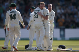 England's Ben Stokes embraces Australia's Marnus Labuschagne after England won the third Test.