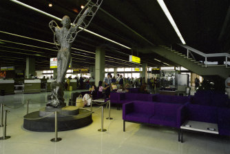 Art and purple lounge chairs: Melbourne Airport circa 1978.