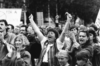 Parents and teachers make it clear what they think of the Government's austerity measures in a rally outside Parliament House in 1993.
